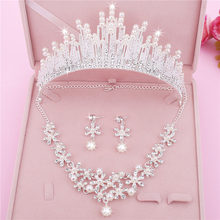 Wedding Pearl Crowns Necklace set for Bride Rhinestone Tiaras Diadem Bridal Wedding Jewelry Sets Headpiece Crystal Crown Tiara(China)