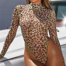 Sexy Leopard Bodysuits for Women Fashion High Collar Long Sleeve Skinny Jumpsuit Combinaison Pantalon Femme 2019 New Hot Sale Y