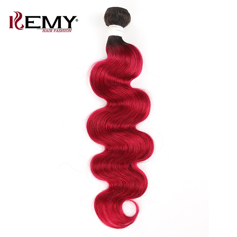 Ombre Red Brown Hair Bundles KEMY HAIR Brazilian Body Wave Human Hair Weave Bundles 8-26inch Non-Remy Hair Extension 1 PC