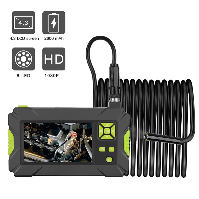 Nouveauté Mini étanche câble dur Inspection HD1080P caméra 8mm USB Endoscope Endoscope 8 LED lumières 4.3 affichage 2/5/10m