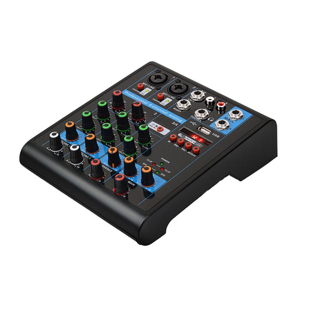 4 canaux Studio professionnel Bluetooth fête KTV stéréo Portable Mini mélangeur en direct karaoké Console de mixage Audio USB son