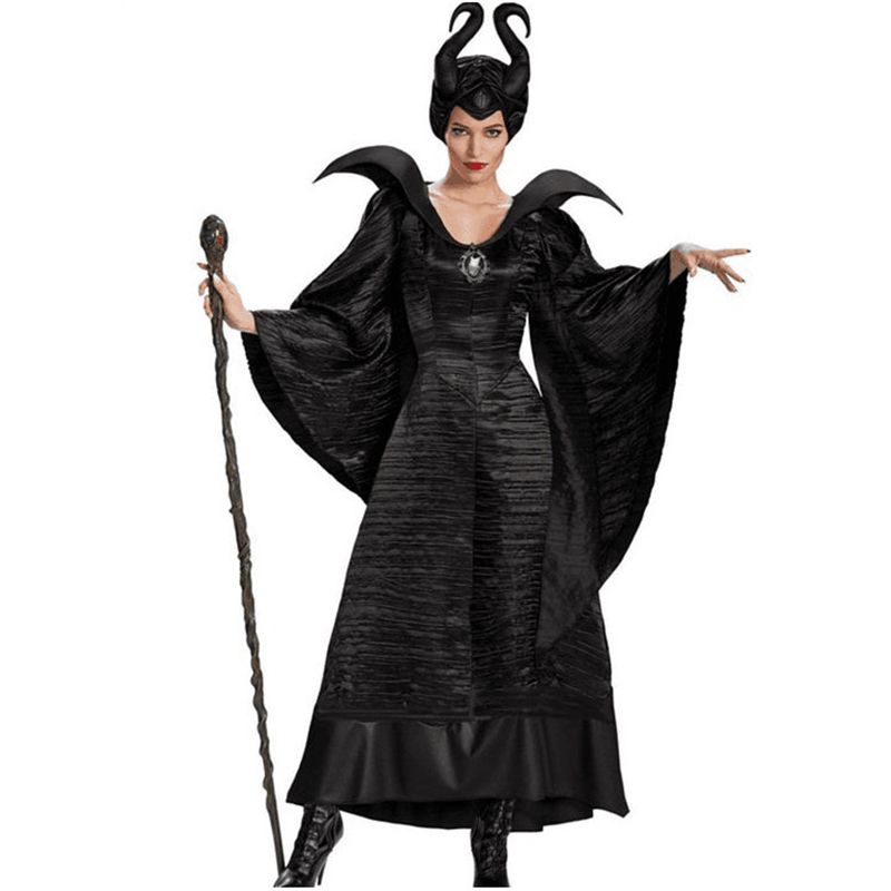 New Anime Maleficent Cosplay Costumes Women Girls Horn Headwear+Jumpsuits Cotton Dress Party Masquerade Halloween Carnival Suit