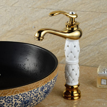 Basin Faucets Euro Gold Washbasin Faucet Luxury Tall Bathroom Basin Taps Single Handle Vanity Single Hole Mixer Water Taps kemaidi new hand painted gold bathroom washbasin bath set faucet mixer taps tempered glass basin veseel faucets chrome finished