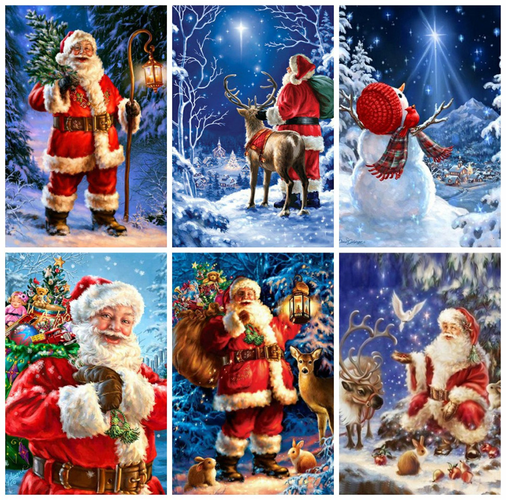 HUACAN Santa Claus Diamond Painting Full Square Embroidery Cross Stitch Diamond Mosaic Rhinestone Christmas Decorations For Home