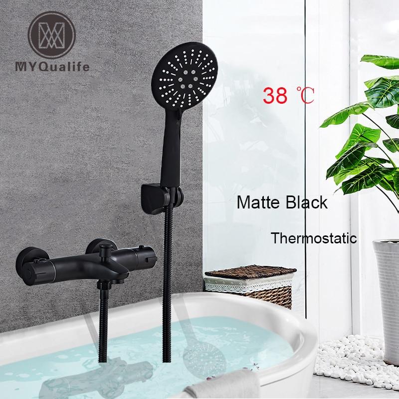 Siyah termostatik duş bataryası musluk çift kolu sabit sıcaklık duş musluk bataryası el banyo duş seti ile braketi