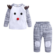 Christmas Costume for Baby Boy Girl Set Cloth Santa New Born Deer T Shirt+Trouser 2PC Suit Bebe Infant Outfit My First