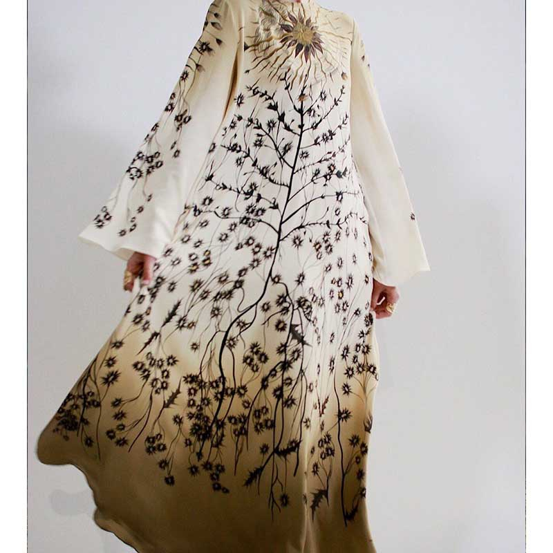 Cosmicchic 2020 Boho Maxi Dress 100% Silk Elegant Flower Print Long Sleeve Beach Dress O Neck Big Swing Loose Long Dress