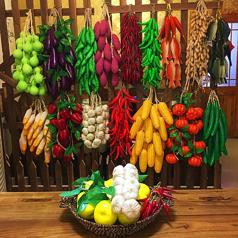 Strongwell Simulation Green Vegetable Skewers Fruit String Home Wall Hanging Decorative Restaurant Wall Decoration