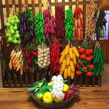 Strongwell sztuczny zielony szaszłyki warzywne owoce ciąg ściany domu wiszące dekoracyjne dekoracje ścienne restauracji tanie i dobre opinie Foam Artificial fruit and vegetable skewers As shown in the picture