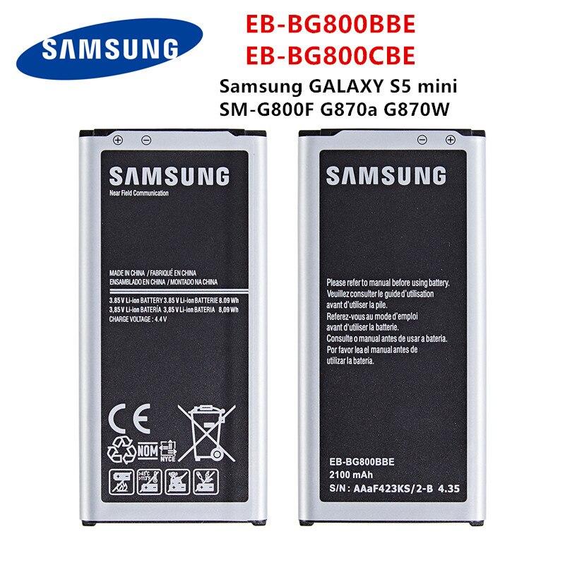 SAMSUNG Orginal EB-BG800BBE EB-BG800CBE 2100mAh Battery For Samsung GALAXY S5 Mini S5MINI SM-G800F G870A G870W Mobile Phone