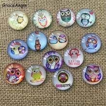 Mix DIY Glass Cabochon Beads Owl Demo Flat Back Blank Pendants Ring Base For Diy Tray Gift8mm 10mm 12mm 15mm 18mm 20mm 25mm 30mm(China)