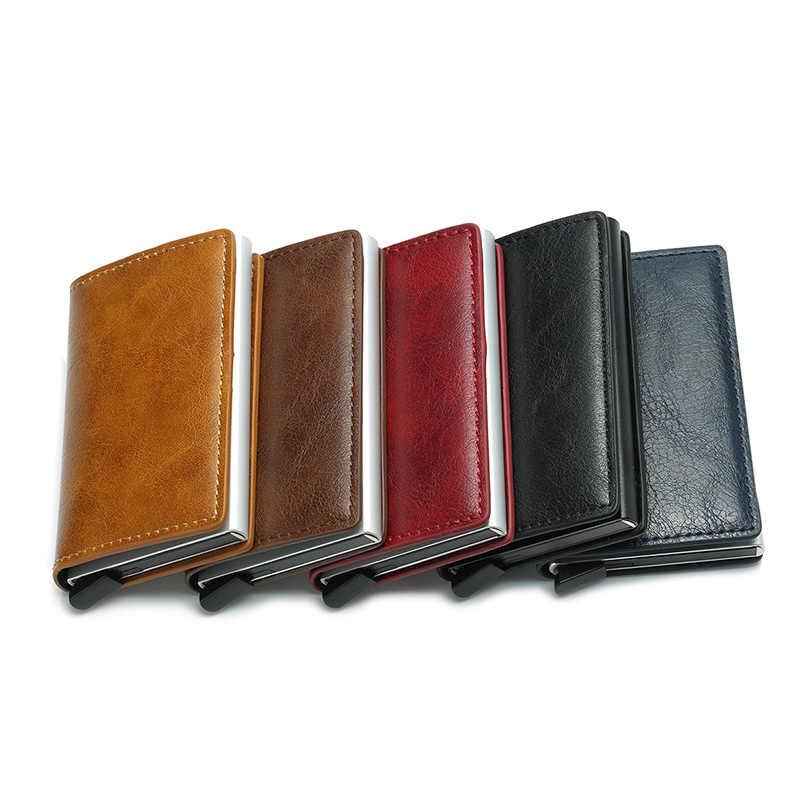 Dienqi alumínio rfid carteira masculina dinheiro bolso id titular do cartão mini fino carteira homens moeda bolsa pop up automático cartão de crédito caso