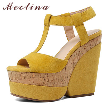 Meotina Summer Sandals Women Shoes Kid Suede Platform Wedge Heel T-strap Shoes Real Leather Super High Heel Sandals Ladies 34-42