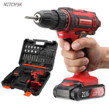 MITCHYA Cordless Drill 12V 16.8V 21V Lithium Battery Power Tools Kit with Toolbox Electric Cordless Screwdriver Mini