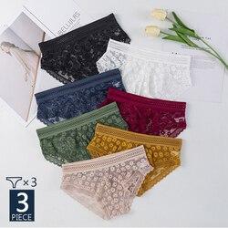 3 шт./комплект, сексуальные женские трусики, кружевное нижнее белье, женские кружевные трусики, женское нижнее белье с цветочным рисунком, же...