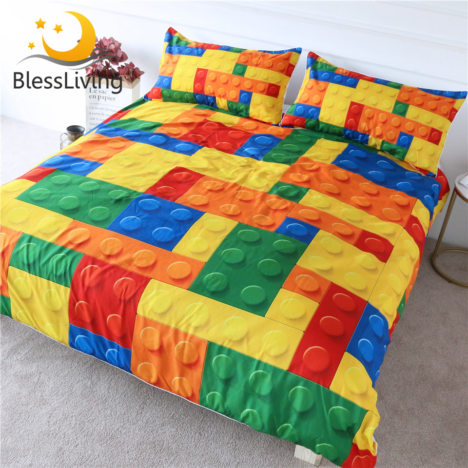 BlessLiving Toy Print Bedding Set Dot Building Blocks Comforter Cover Kids Boy Bed Cover Colorful Bricks Game Bedlinen Wholesale