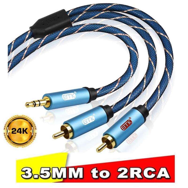 In Stock High Quality RCA <font><b>Cable</b></font> 2RCA to 3.5 <font><b>Audio</b></font> <font><b>Cable</b></font>, RCA <font><b>3.5mm</b></font> <font><b>Jack</b></font> RCA AUX <font><b>Cable</b></font> For Amplifier Speaker DVD TV MP3 Phone image