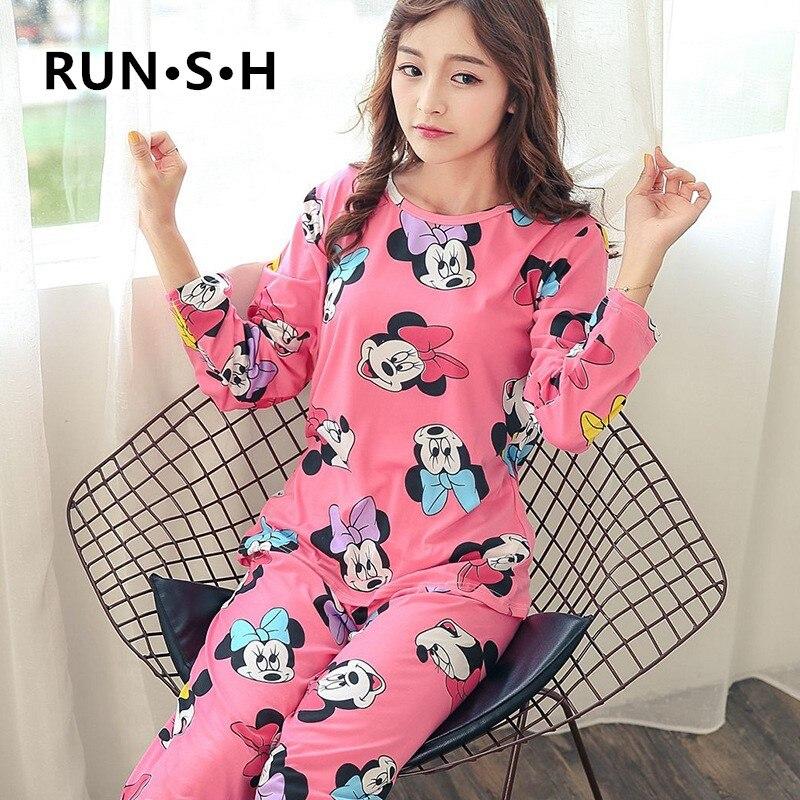 Women Minnie Mickey Pajamas Set 2pieces Pyjamas Set Women Girls Cotton Round Neck Pajamas Sets Teacup Cat Sleepwear Clothes