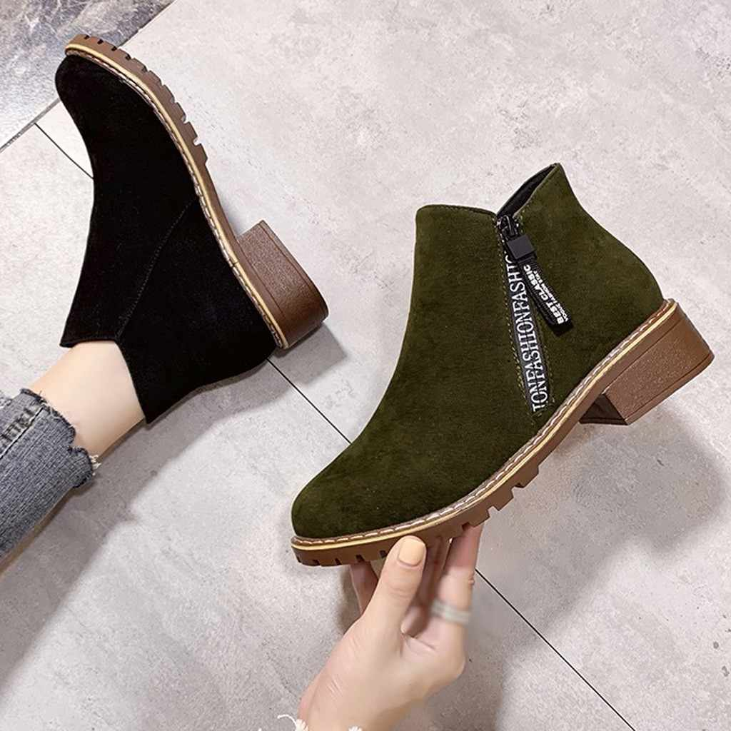 2020 printemps hiver nouvelle mode femmes daim talon carré fermeture éclair couleur unie chaussons courts Chelsea cheville caoutchouc bout rond chaussures # O15
