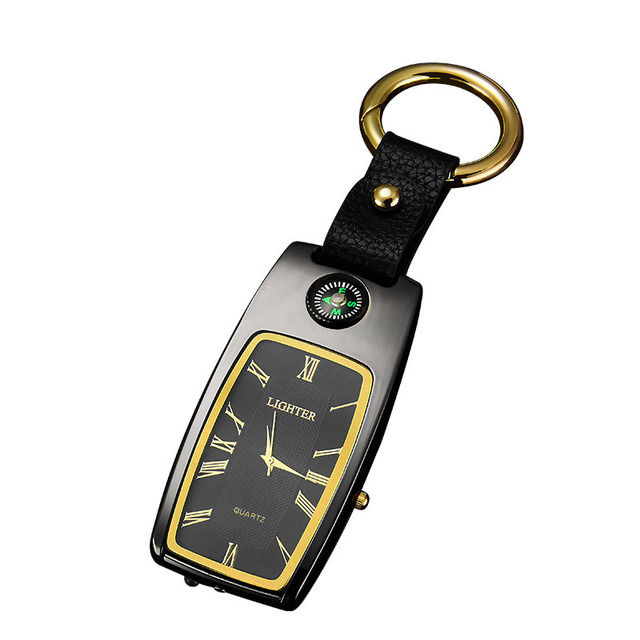 wholesale Charging  Lighter Keychain USB Watch Survival Compass Cigarette Lighter with Light Electric New Multi-function Outdoor 2
