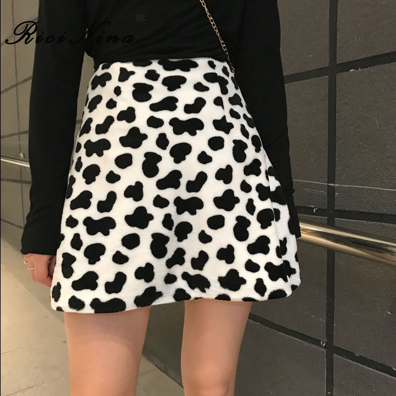 RICININA Mini Skirt Women High Waist Cow Print A Line Skirt Women In Office Casual Vintage Skirts Woman Spring Jupe Femme 2020