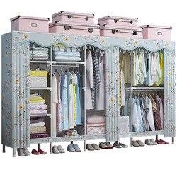 Stalowa rura zagęszczona szafa prosta tkanina szafa wynajem pokoju strona główna cała stalowa rama szafka z tkaniny wisząca szafka na ubrania