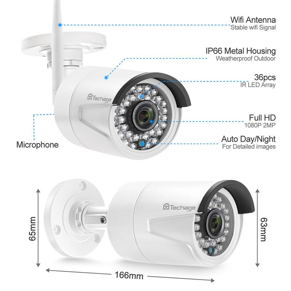 Techage H.265 4CH 1080P Wireless NVR CCTV Kamera System 2MP HD Audio WiFi IP Kamera IR Outdoor Video Sicherheit überwachung Kit