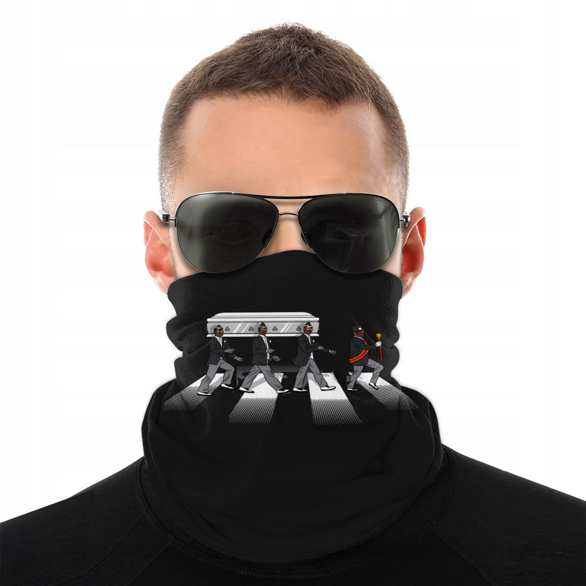Coffin Dance Scarves Half Face Mask Unisex Fashion Neck Gaiter Africa Black Neck Bandanas Windproof Headband Biking Hiking