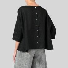 ZANZEA kobiety elegancka bluzka lato O Neck 3/4 rękaw koszula robocza na co dzień koszulka stałe przyciski Blusas Plus rozmiar luźne topy szata