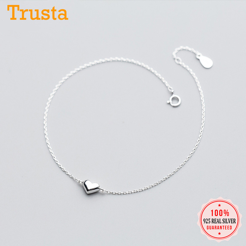 Trustdavis 100% 925 Real Sterling Silver Fashion Cute Heart 20cm Anklets for Women Valentine's Day Birthday Gift Jewelry DS708