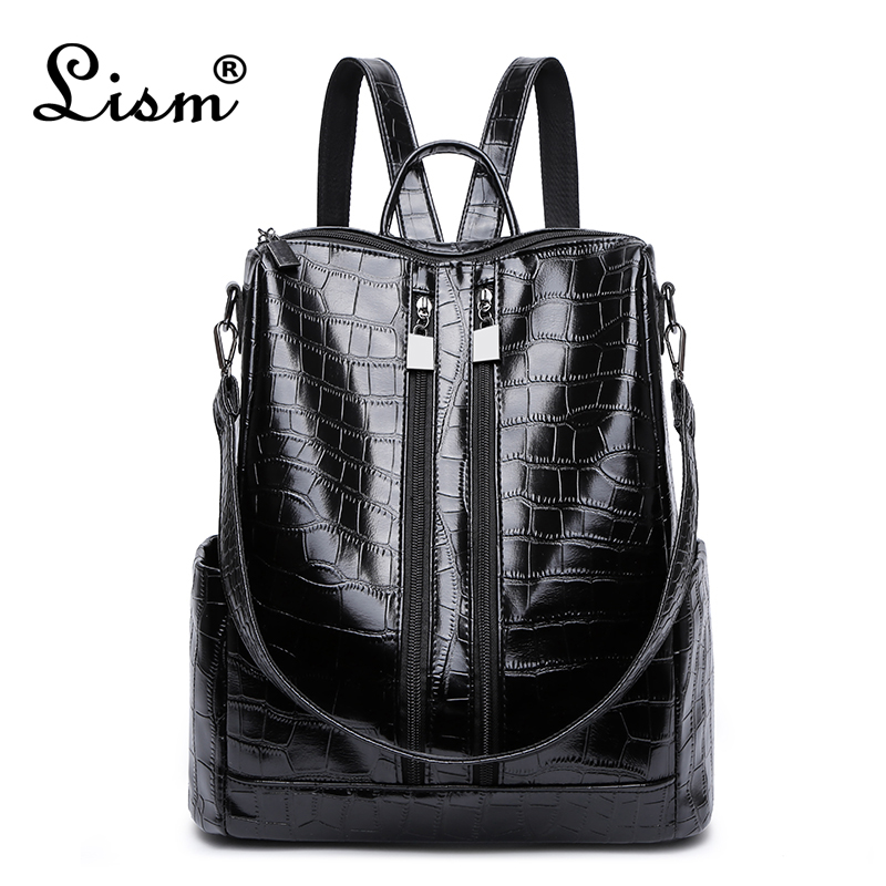 Famous Brand Luxury Backpack 2019 New Ladies High Quality Crocodile Pattern Black Bag