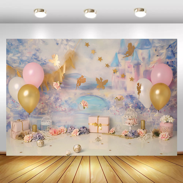 Laeacco Blue Light Bokeh Castle Gold Butterfly Balloon Gift Flowers Ball Candle Party Baby Photo Backdrop Photography Background