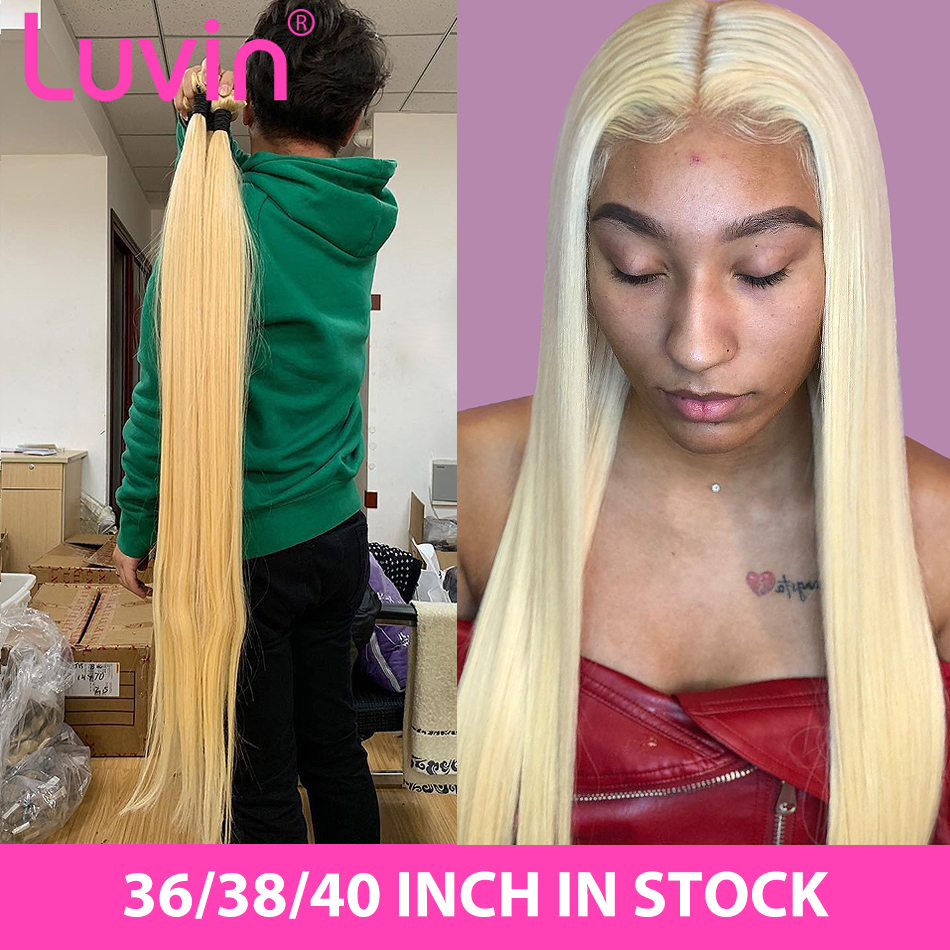Luvin Straight 28 30 32 34 40 Inch Brazilian Remy Hair 613 Blonde 1 3 4 Bundles Long Human Hair Weave Bundles Free Shipping