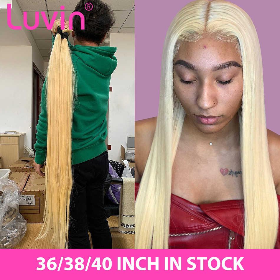 Luvin em linha reta 28 30 32 34 40 Polegada cabelo remy brasileiro 613 loira 1 3 4 pacotes de tecer cabelo humano longo pacotes frete grátis