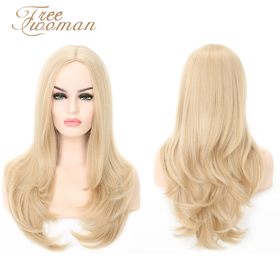 FREEWOMAN Blonde Wavy Wigs Middle Part Cosplay Synthetic Wigs With Bangs For Women Long Hair Extension Fake Hair Women's Wigs