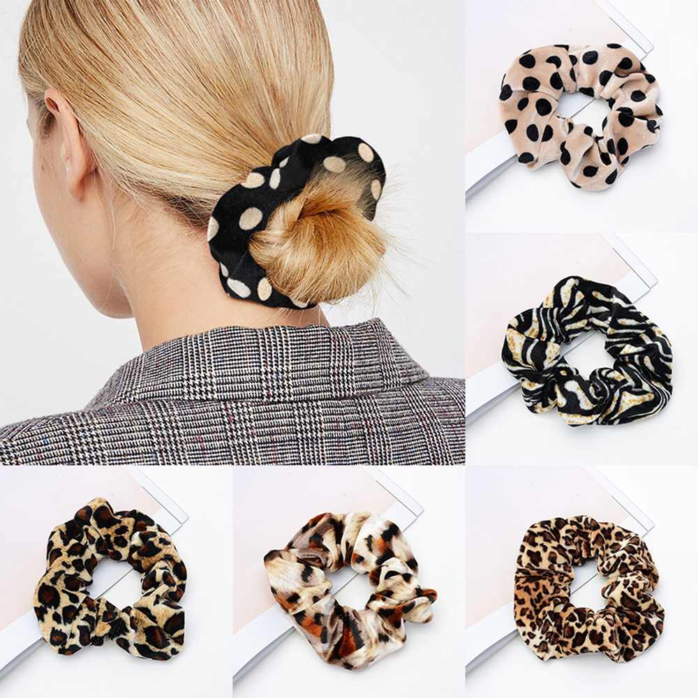 Woman Velvet Leopard Scrunchies Hair Ring Ties For Girls Ponytail Holders Rubber Band Elastic Hairband Hair Accessories   Headwear