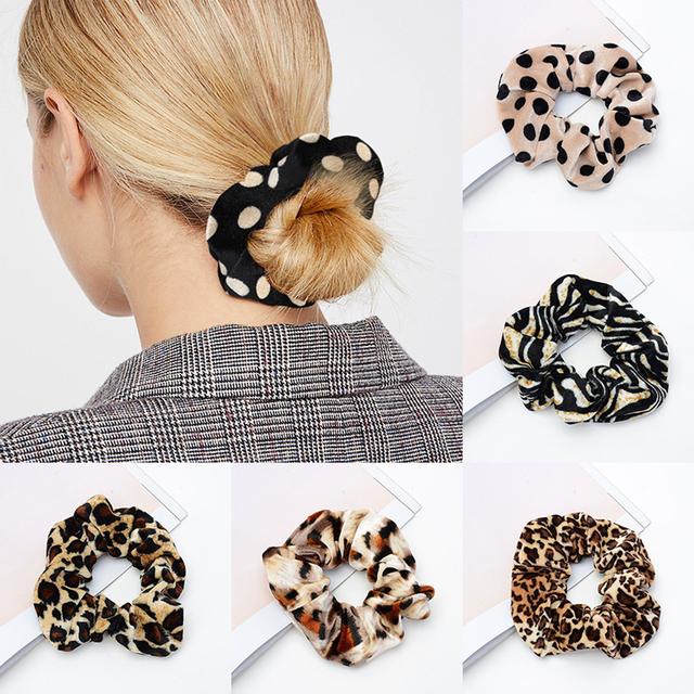 Woman Velvet Leopard Scrunchies Hair Ring Ties For Girls Ponytail Holders Rubber Band Elastic Hairband