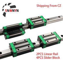 Rail de guidage linéaire carré, 2 pièces, HGR15 HGR20 1000/1200/1500mm + 4 pièces chariot à bloc coulissant HGH15CA/HGH20CA pour gravure de routeur CNC