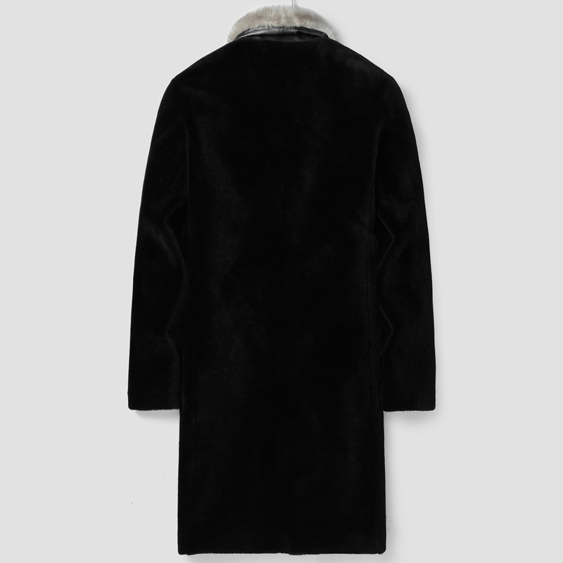 Sheep Shearling Winter Jacket Men 100%Wool Coat Real Mink Fur Collar Streetwear Jackets Chaqueta LSY022150 MY1615