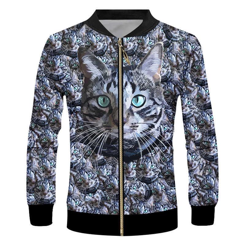 UJIW 2019 primavera otoño chaqueta para hombre estampado divertido gatos negros lindos abrigos 3d hombre Hiphop manga larga cuello cremallera béisbol chaquetas