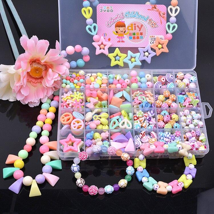 Kit für Machen Armbänder Perlen Spielzeug für Kinder DIY 24 Grid Handgemachte Herstellung Puzzles Perlen für Mädchen Kit Mädchen Spielzeug für 3 5 7 9 11