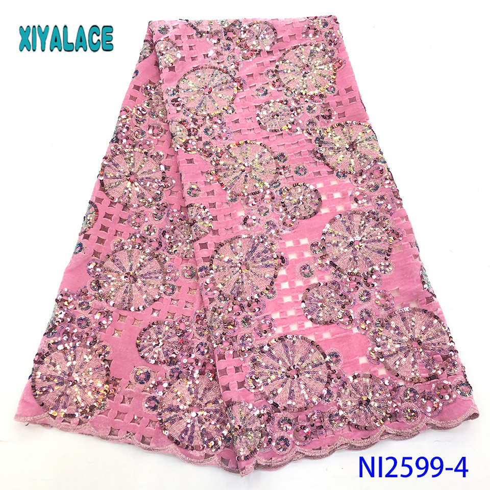 Nigerian Lace Fabric High Quality Sequins 2019 Cotton African Lace Fabric French Lace Fabric Wedding Party Dress YANI2599-4