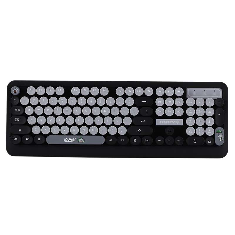 Optical Wireless Cute Keyboard K68 Optical Wireless Keyboard and Mouse USB Receiver Kit for PC Computer Black