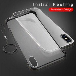 Image 2 - ללא מסגרת מקרה עבור iPhone 7 מקרה שקוף מט קשיח טלפון כיסוי עבור iPhone XR XS מקסימום X 7 6 6s 8 בתוספת עם אצבע טבעת מקרה