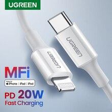 كابل USB من UGREEN MFi من النوع C إلى البرق لهواتف iPhone 12 mini Pro Max PD18W 20 وات كابل بيانات سريع لشحن أجهزة Macbook PD