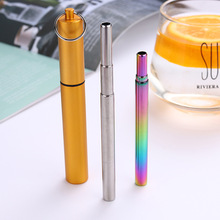 Stainless Steel Telescopic Drinking Straw Portable straw Travel Reusable Collapsible Metal With Brush Accessories