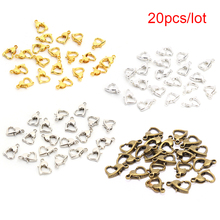 20Pcs Classic Heart Alloy Lobster Clasps Hooks Bracelet End Connectors For Jewelry Making DIY Necklace Buckle 7*10.5mm