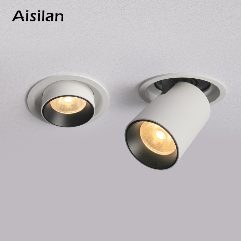 Aisilan LED Transformer Downlight Round Extendable Rotatable Bendable Recessed Spot Light CREE COB AC90-260V