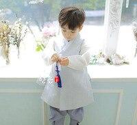 South Korea Imported Fabric Boy Birthday Korean Clothing/upscale Children's New Korean Clothing Fashion Belt V Neck Full
