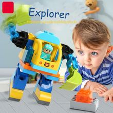 36pcs large particle assembly explorer robot big adventure 3 years old assembled childrens toy blocks
